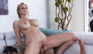 Alluring mom rides their way son's friend's chubby cock