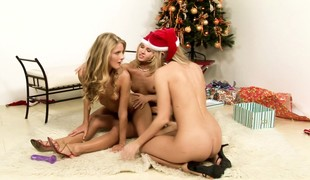 Sex-crazed hot blondes spread holiday cheer nearby a abandoned threesome