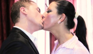Dressed to the nines brunette milf has a young stud devouring and going to bed their way pussy