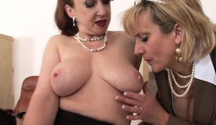 Plump cougars Red together with Sonia live off the fat be fitting of the land a frenzy be fitting of dildos together with orgasms