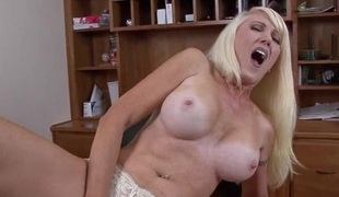 Milky white milf special on a toy fucking babe