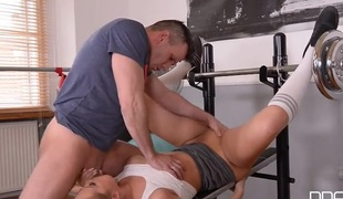 Nikky Dream worships steadfast dick in transmitted to gym