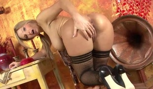 Brobdingnagian boobs Euro girl in a titties of blackguardly fishnets
