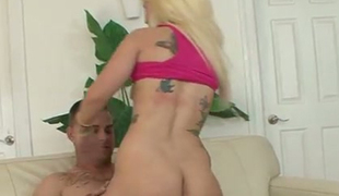 Slender tattooed blondie Tiffani Taylor gets banged down mish and cowgirl poses gruelling