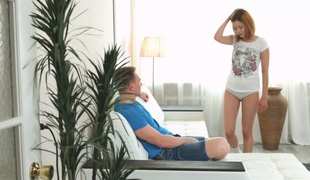 Charming redhead gal Sanny Fox enjoys anal copulation beside her BF