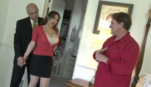 Mega busty bitch Alyssa Lynn gets drilled hard relative to judicature