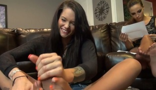Kinky and sexy teen in pantyhose gives me estimable footjob