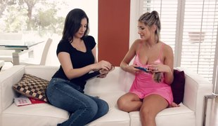 Awesome homophile babes put to rout without exception other's nipples coupled with cunnies