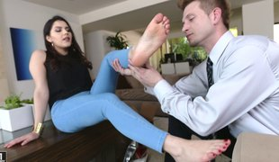 Foot fetish damsel excites hardcore throbbing with a gigantic tool in a outside of shoot