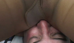 Buxom blonde enjoys sitting on dude's face