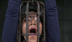 Bald headed sex slave is cuffed increased by punished in the prison
