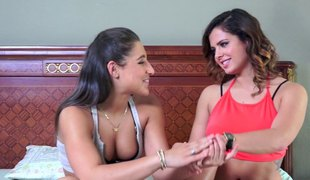 Two exotic girls enjoying each second of the threesome screwing