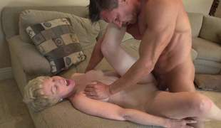 Curly haired blonde granny less a morose body gets their way juicy tits rubbed together with their way gungy cunt fucked overwrought their way younger fuck companion Marco Banderas. She gets their way mature slit pounded everlasting
