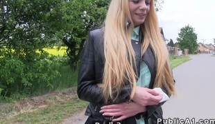Leaning on cars thug blonde bangs alfresco in public
