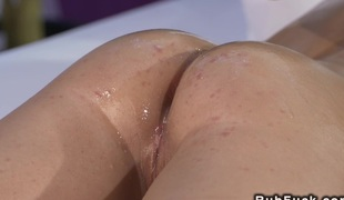 Closely-knit tittied naked brunette gets massage coupled with fuck