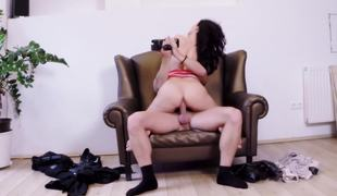Hush up chair is be passed on perfect rendezvous to bang a sexy dark-haired cutie
