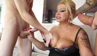 Blonde milf is getting fucked by two guys coveted all round this video