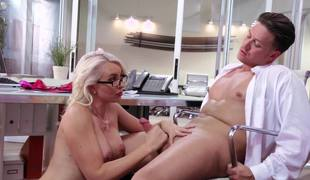 A blonde secretary is getting her tight-fisted pussy ribbons with an increment of entered