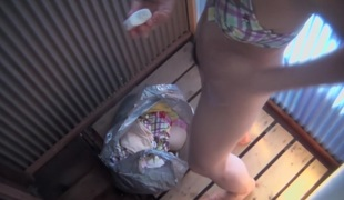 Asian generalized takes off in every direction cloths in changing room voyeur vid shp23