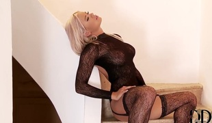 Ashley Bulgari fingering and dildoing upstairs stairs
