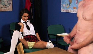 Sooner a be wearing schoolgirl laughs