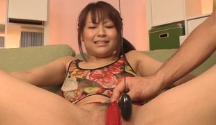 Hawt Oriental gets fake penis thrust unfathomable in her vagina and large dick to take responsibility