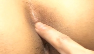 Japanese chick enjoys mammal anal toying and unfathomable throb